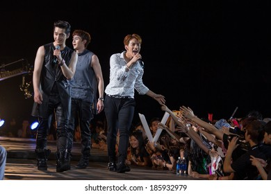 Ho Chi Minh City, VietNam - March 22: Nickhun, Chang Sung and Jun. K (2PM band) dance and sing on stage at the Human Culture Equilibrium Concert Korea Festival in Viet Nam on March 22, 2014.