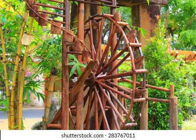 Ho Chi Minh city, Vietnam - April 11, 2015: model Bamboo water wheel. The use of water power for water supply in rural areas of Vietnam is often seen images