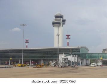 HO CHI MINH CITY, VIETNAM - JUL 10, 2015. Closeup view of Tan Son Nhat airport traffic control tower in Ho Chi Minh City (Saigon), Vietnam.