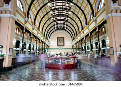 HO CHI MINH CITY, VIETNAM - April 12: Customers and tourists at the General Post Office on April 12, 2009. It was built by the French in the 1880s and is now a popular tourist attraction in Saigon, Vietnam.