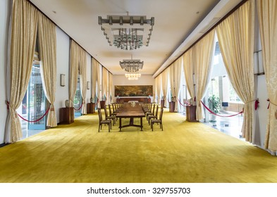 Ho Chi Minh City, Vietnam - August 13, 2015: banquet room in the Reunification Palace or Independence Palace, the former South Vietnamese presidential palace completed in 1966.