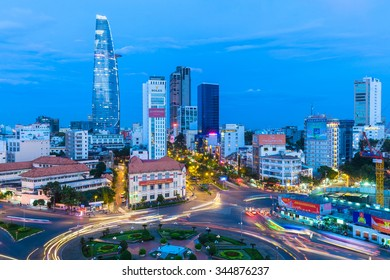 Ho Chi Minh City, Vietnam - November 21, 2015: View of the city after sunset with Bitexco Financial Tower on the background on November 21, 2015 in Ben Thanh Market area, District 1, Vietnam.