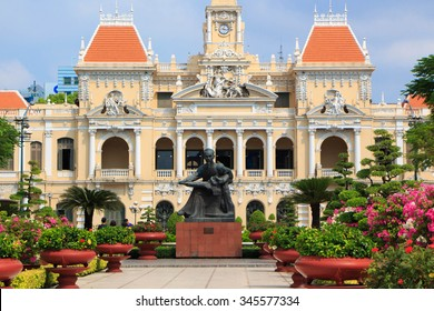 HO CHI MINH CITY, VIETNAM - APRIL 12: Ho Chi Minh City Hall on April 12, 2014 in Ho Chi Minh City. Built in French colonial style it was Saigon most iconic building and known as Hotel de Ville.