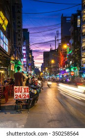 Ho Chi Minh City, Vietnam - November 20, 2015: Night view of crowded Bui Vien street, famous backpackers area in Saigon, November 20, 2015, Vietnam.