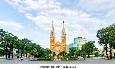 HO CHI MINH CITY, VIETNAM - November 8, 2015 : Notre Dame Cathedral (Vietnamese: Nha Tho Duc Ba), build in 1883 in Ho Chi Minh city, Vietnam. The church is established by French colonists.