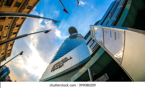 HO CHI MINH CITY, VIETNAM - March 16, 2016: View of clouds as they gather over the Bitexco Financial Tower on March 16, 2016 in Ho Chi Minh city, Vietnam.