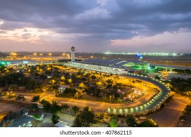 Ho Chi Minh City, Vietnam - December 31, 2015: Dawn over Tan Son Nhat airport at the final day of 2015
