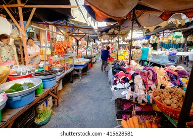 Ho Chi Minh City, Vietnam - April 24, 2016: Vietnamese vendors in Cho Lon market