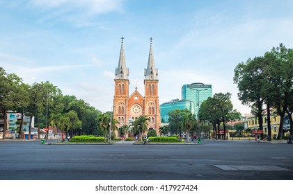 Ho Chi Minh City, Vietnam - May 07, 2016: Saigon Notre-Dame Cathedral Basilica (Basilica of Our Lady of The Immaculate Conception) by weekend, is one of the most popular tourist destination of Asia.