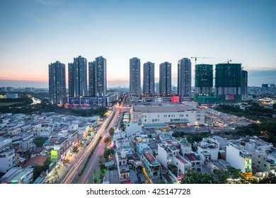 Ho Chi Minh City, Vietnam - August 27, 2015: Beautiful dusk over the high construction development in District 7 (new urban/city area Ho Chi Minh City).