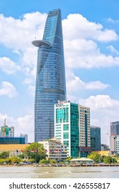 Ho Chi Minh City, Vietnam - January 19th, 2016: Tower with architectural giant lotus riverside rise, above, helipad landing when necessary, this development icon in Ho Chi Minh city, Vietnam