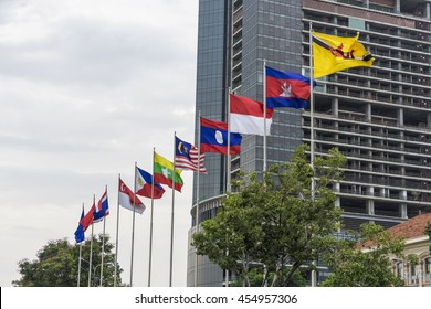 HO CHI MINH CITY, VIETNAM, - Jul 3, 2016 : the flags of ASEAN members in ho chi minh city.