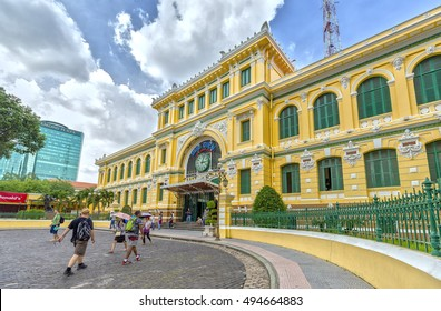 Ho Chi Minh City, Vietnam - October 2nd, 2016: Architecture outside Saigon Central Post Office. It was built by the French in 1886 and is now a tourist attraction Popular in Ho Chi Minh city, Vietnam.