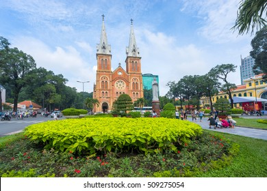 Ho Chi Minh City / Vietnam - November 01, 2016 : Notre Dame Cathedral (Vietnamese: Nha Tho Duc Ba), build in 1883 in Ho Chi Minh city, Vietnam. The church is established by French colonists