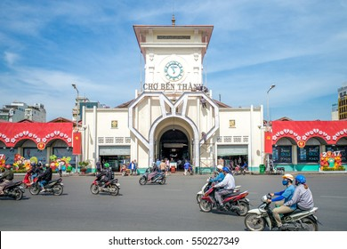 Ho Chi Minh City, Vietnam - January 2, 2016: The entrance of Saigon Central Market, also known as Ben Thanh market, one of the earliest surviving structures in Saigon