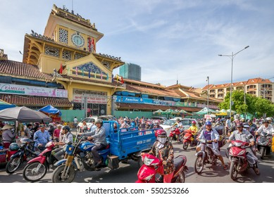 Ho Chi Minh City, Vietnam - January 2, 2017: Binh Tay Market, the Central Market of Cho Lon, It is the largest marketplace before the road leading West to Mien Tay of Vietnam