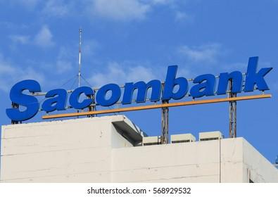 HO CHI MINH CITY VIETNAM - NOVEMBER 29, 2016: Sacombank. Sacombank Saigon Commercial Bank is a Vietnamese bank founded in 1991.