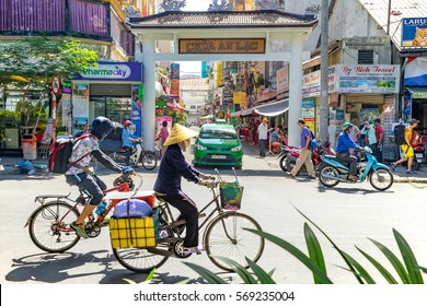 Ho Chi Minh City, Vietnam e January, 2017: street view of Pham Ngu Lao street, the backpacker district of Saigon.