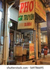 HO CHI MINH CITY VIETNAM - DECEMBER 2, 2016: Vietnamese traditional food Pho shop