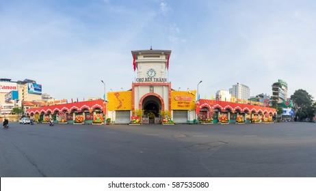 Ho Chi Minh City / Vietnam - January 28, 2017 : Ancient Ben Thanh market in Ho Chi Minh city, Vietnam during Lunar New Year