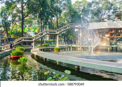 Ho Chi Minh City, Vietnam - January 28, 2017: Turtle lake (Ho Con Rua) in Sai Gon, Viet Nam