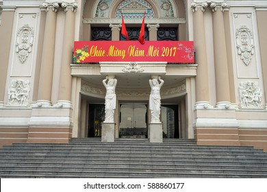 Ho Chi Minh City, Vietnam - January 28 , 2017: Saigon Opera House at Dong Khoi street at Ho Chi Minh City, Vietnam
