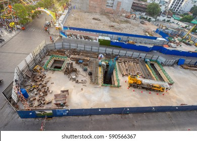 Ho Chi Minh City, Vietnam - January 29, 2017 : underground stations of the first Metro are being developed at downtown of Ho Chi Minh City, Vietnam