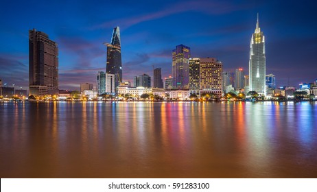 Ho Chi Minh City, Vietnam - January 28, 2017: Aerial view of center of Saigon riverside at Ho Chi Minh City, Vientam in sunrise or sunset