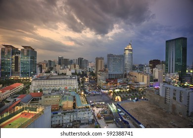 Ho Chi Minh city, Vietnam - February 27, 2017: a perspective from above of Ho Chi Minh City at dusk. Ho Chi Minh city is the commercial center and cultural of Viet Nam