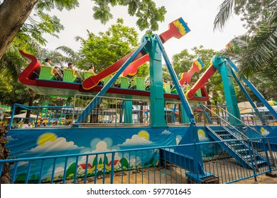Ho Chi Minh City, Vietnam - January 31, 2017:  fun fair games at Dam Sen park in Ho Chi Minh City, Vietnam.