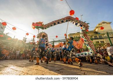 Ho Chi Minh City, Vietnam - January 27, 2017: dragon dance in the yard of Thien Hau Pagoda, Ho Chi Minh City, Vietnam