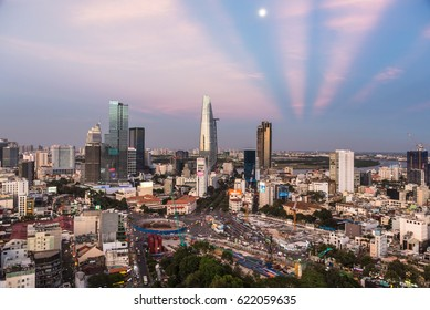 HO CHI MINH CITY, VIETNAM - APRIL 9, 2017: The sun sets over the Ho Chi Minh City skyline that mix the colonial and business district in Vietnam largest city, formerly named Saigon.