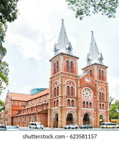 Ho Chi Minh City, Vietnam. - April 13,2017 : Notre-Dame Cathedral Basilica of Saigon, officially Cathedral Basilica of Our Lady of The Immaculate Conception is a cathedral located in Ho chi minh city.