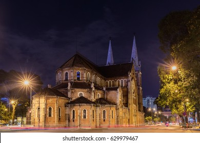 Ho Chi Minh City / Vietnam - March 27, 2017: Night view on Notre Dame Cathedral in Ho Chi Minh city, Vietnam. The church is established by French colonists, build in 1883. Vietnamese: Nha Tho Duc Ba.