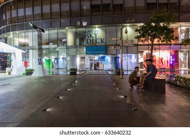 HO CHI MINH CITY, VIETNAM - March 27, 2917: Entrance to the building The Bitexco building. Bitexco Tower is the highest building in HCMC