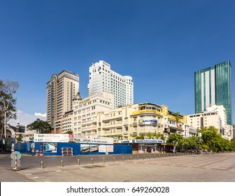 HO CHI MINH CITY, VIETNAM - APRIL 9, 2017: Various buildings lines the Nguyen Hue avenue in the heart of Ho Chi Minh City, the largest city in Vietnam formerly called Saigon.