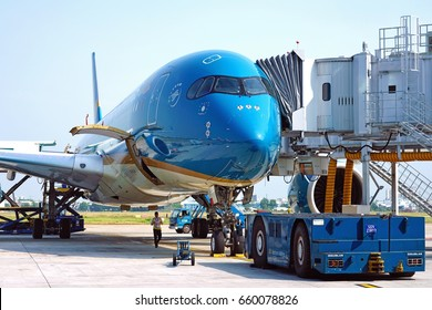 HO CHI MINH CITY, VIETNAM -9 MAR 2017- An Airbus A350-900 airplane from Vietnam Airlines (VL) at the Tan Son Nhat International Airport (SGN).