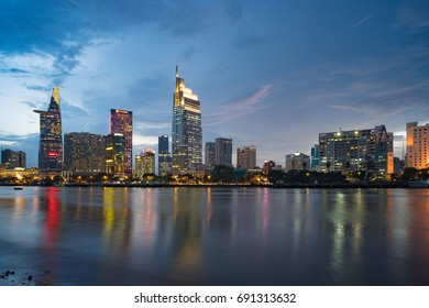Ho Chi Minh City Vietnam August 1 2017. Bitexco at night view from river side