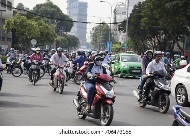 Ho Chi Minh City, Vietnam - March 27, 2017: Road Traffic in Saigon, Vietnam