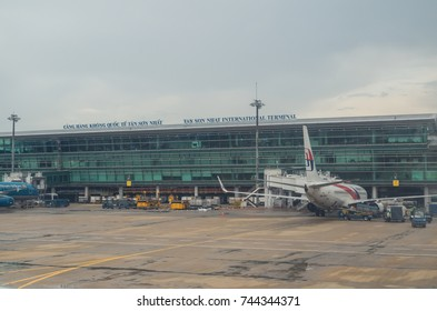 Ho Chi Minh City, Vietnam - August 20, 2017: Malaysian Airlines Boeing 737-800 in front of the terminal at Tan Son Nhat airport in Ho Chi Minh City.