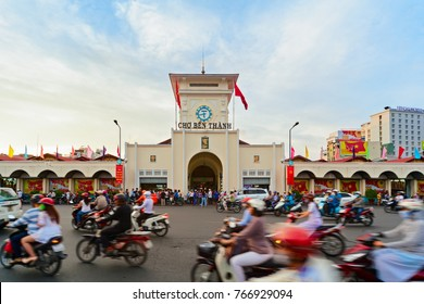 Ho Chi Minh city, Vietnam - September 01, 2015: Ben Thanh market in old town centre. Popular place to visit on Saigon day tour for shopping handicrafts, souvenirs, trying traditional Vietnamese food