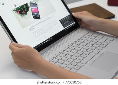 Ho Chi Minh city / Vietnam - December 05th 2017: On hand and quick feeling Microsoft Surface Book 2