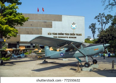 HO CHI MINH CITY, VIETNAM - JANUARY 25, 2015: War Remnants Museum. Army plane US AIR FORCE near Saigon Remnants Museum captured during the war, the most popular museums in Vietnam attracting.