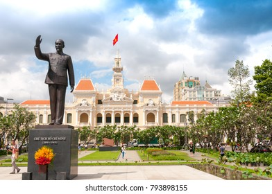 Ho Chi Minh City, Vietnam, 12.26.2017.   City Council building and Ho Chi Minh monument.