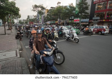 Ho Chi Minh City, Vietnam - 30 December 2017. Normal heavy traffic in Ho Chi Minh City with bikes.