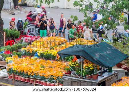 Binh Dong Floating Flower Market.Ho Chi Minh City Vietnam February Stock Photo Edit Now 1307696824