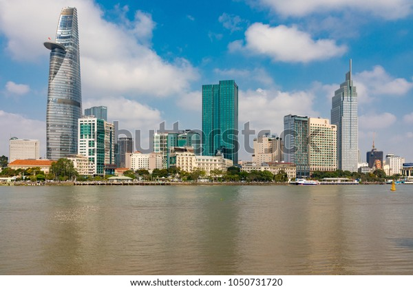 Ho Chi Minh CityVietnamMarch 20, 2018View of the skyline of Ho Chi Minh City, across the Saigon River