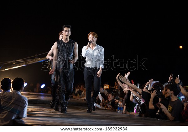 Ho Chi Minh City, VietNam - March 22: Chang Sung and Jun. K (2PM band) dance and sing on stage at the Human Culture Equilibrium Concert Korea Festival in Viet Nam on March 22, 2014.