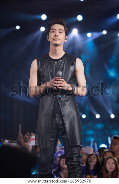 Ho Chi Minh City, VietNam - March 22: Chang Sung (2PM band) dance and sing on stage at the Human Culture Equilibrium Concert Korea Festival in Viet Nam on March 22, 2014.