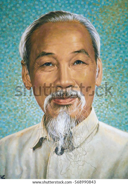 HO CHI MINH CITY, VIETNAM - NOVEMBER 13, 2007: Portrait of Ho Chi Minh in the Old Post Building in Ho Chi Minh City, Vietnam